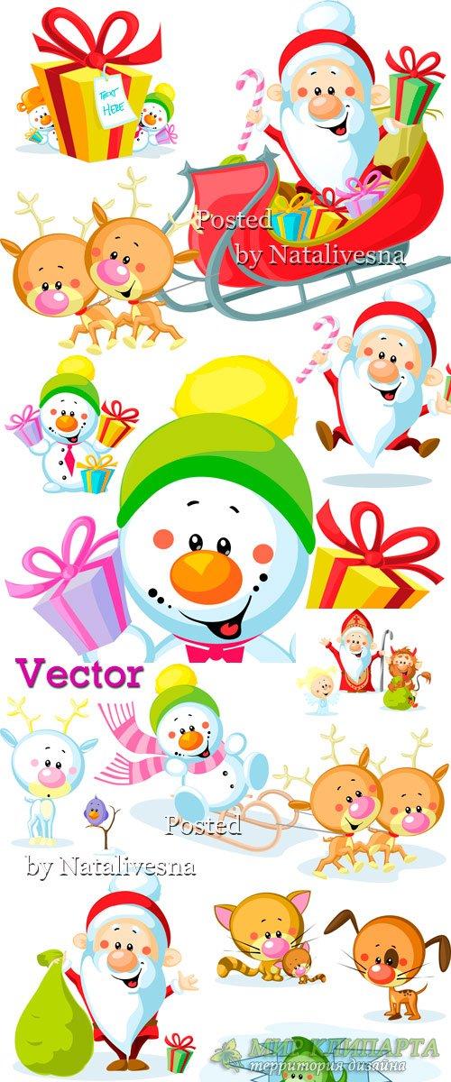 Дед Мороз и снеговик с подарками в Векторе