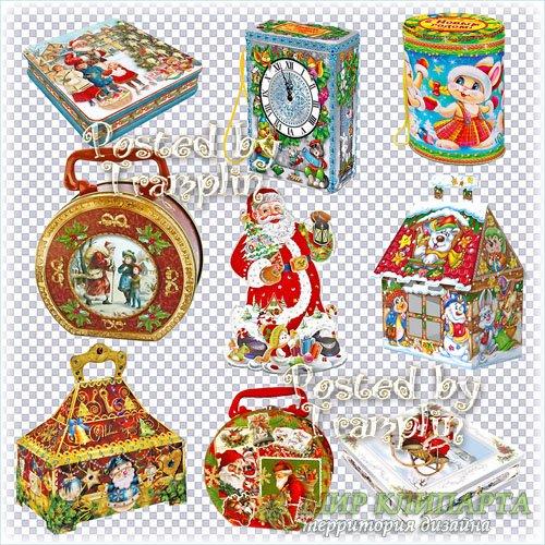 Новогодние подарочные упаковки и коробки на прозрачном фоне