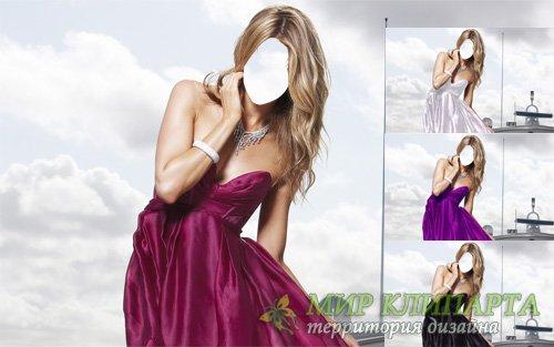 Шаблон для девушек - Блондинка в платье на корабле
