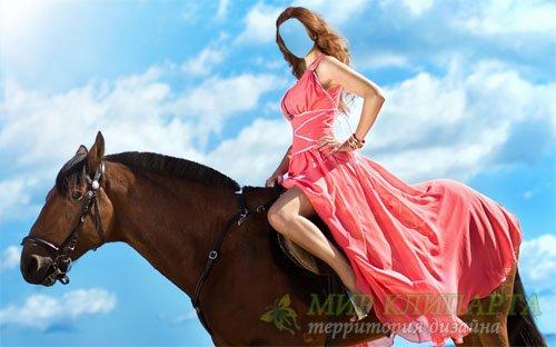 Шаблон женский - Девушка на лошади в платье