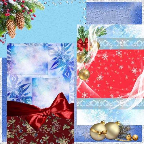 Праздничные зимние фоны для оформления рамок, фотоальбомов, коллажей