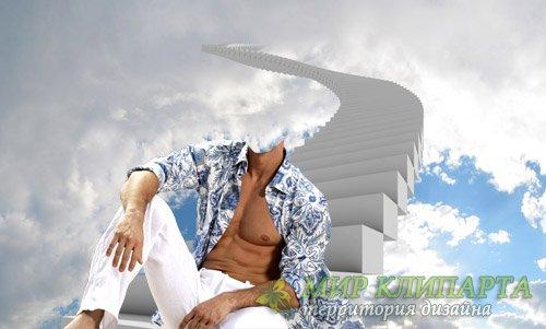 Шаблон psd - Сидя на небесной лестнице