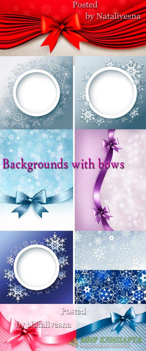 Красивые фоны в Векторе со снежинками и бантами