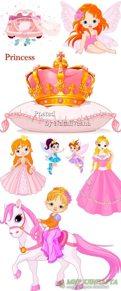 Принцессы с золотой короной в Векторе