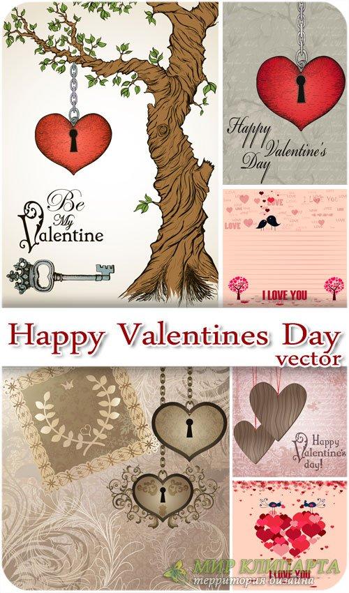 День святого Валентина в векторе, дерево с сердцем в винтажном стиле