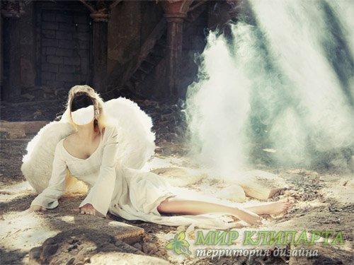 Шаблон женский - Ангел с крыльями среди руин