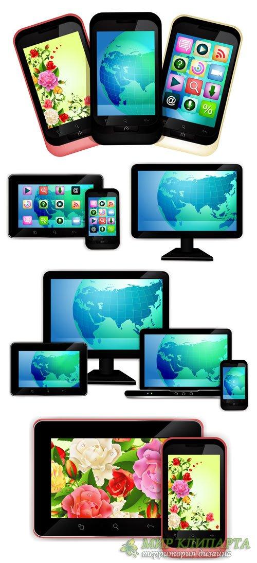 Смартфоны, планшет, современные технологии в векторе