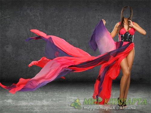 Шаблон для девушек - Девушка в красно-синем платье