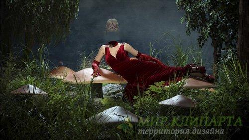 Шаблон для девушек - На сказочной поляне в бордовом вечернем платье