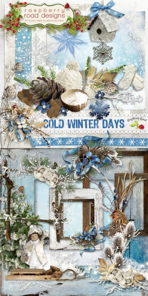 Скрап-набор Cold Winter Days (Add-on) + 5 Clusters