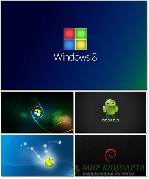 Подборка красивых фонов с эмблемами операционных систем 11