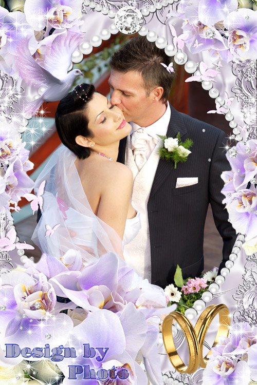 Свадебная рамка - Нежные фиолетовые орхидеи