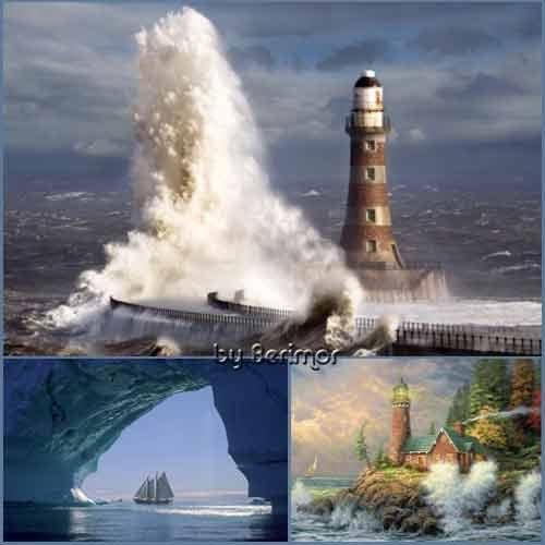 Разнообразные маяки и  великолепные корабли