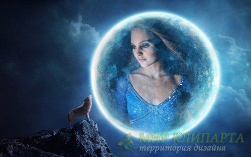 Рамка psd - Фото на луне