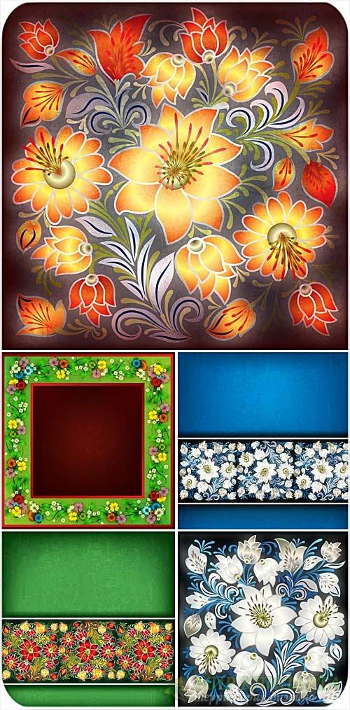 Векторные фоны с нарисованными цветами