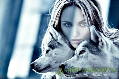 Шаблон для фотомонтажа - Девушка парой волков