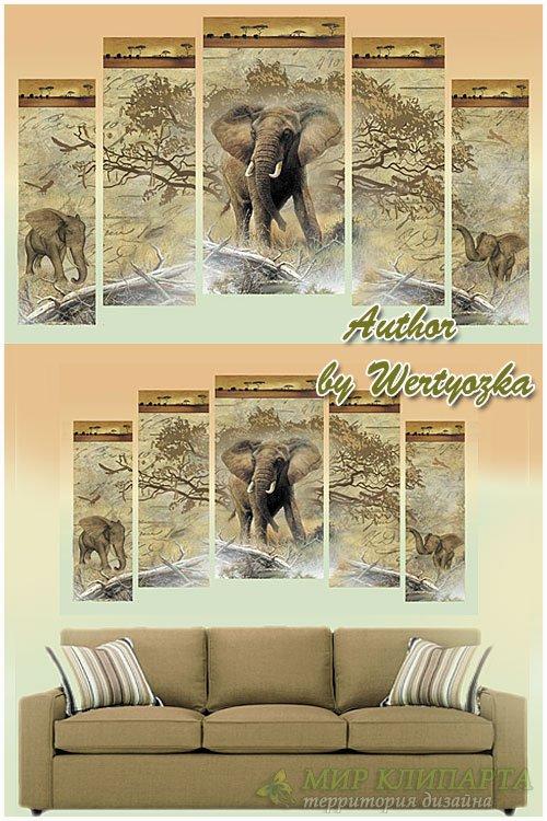 Слоны в винтажном стиле - модульная картина полиптих