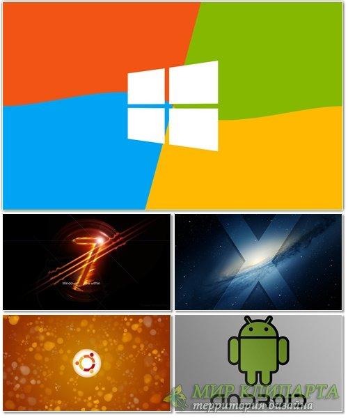 Подборка красивых фонов с эмблемами операционных систем 12