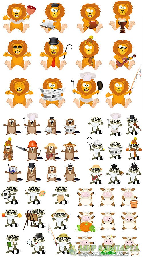 Забавные животные, лев, енот, корова в векторе