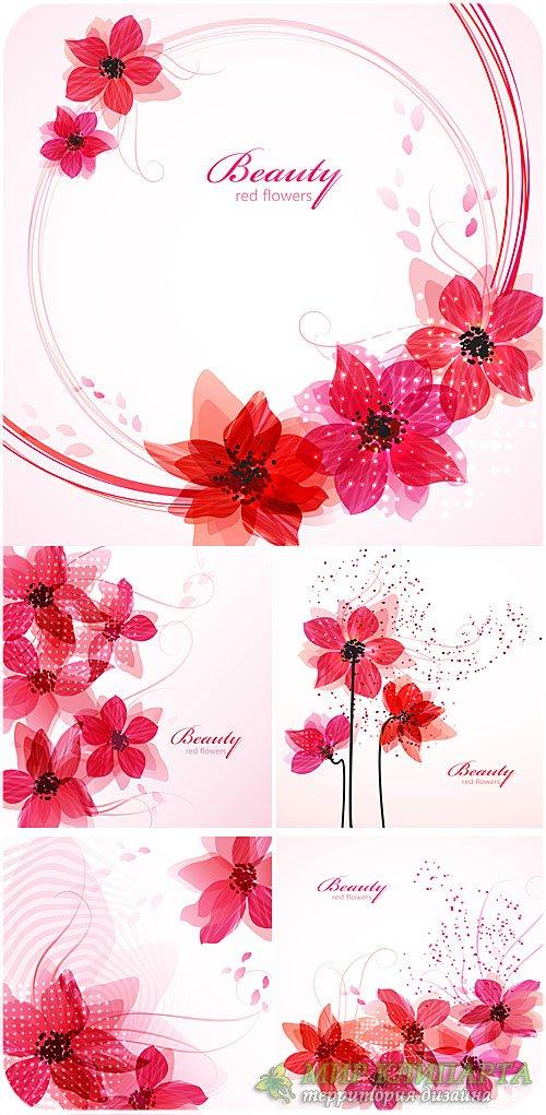 Белые векторные фоны с цветами