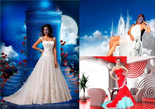 Шаблоны для фотошопа  - Девушки в нарядных платьях