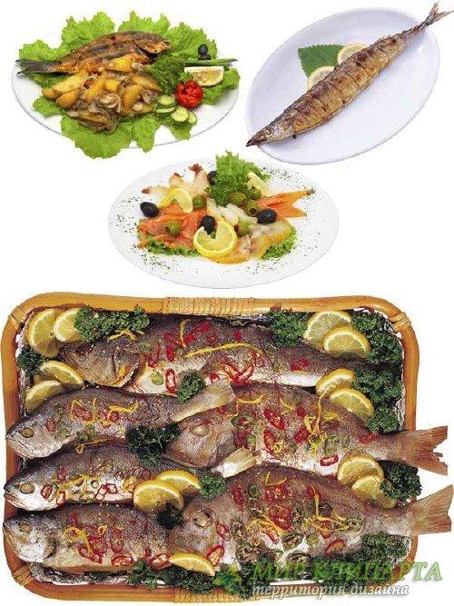 Рыба приготовленная (подборка клипарта) часть вторая