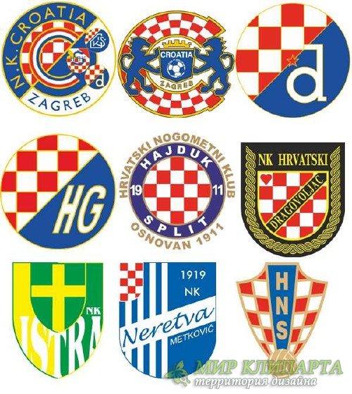 Логотипы и эмблемы футбольных команд Хорватии (вектор)