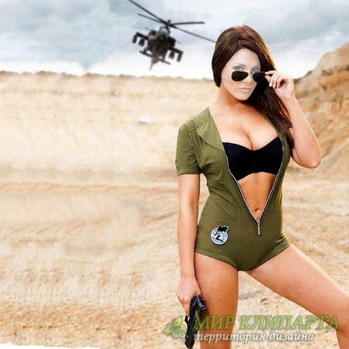 Шаблон женский - Боевая девушка с оружием