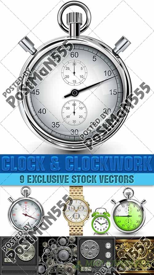 Часы и часовой механизм | Clock and clockwork, вектор