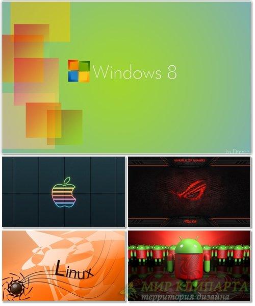 Подборка красивых фонов с эмблемами операционных систем 15