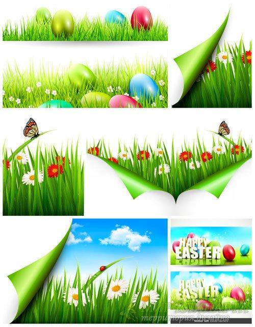 Весна, пасхальные баннеры в векторе