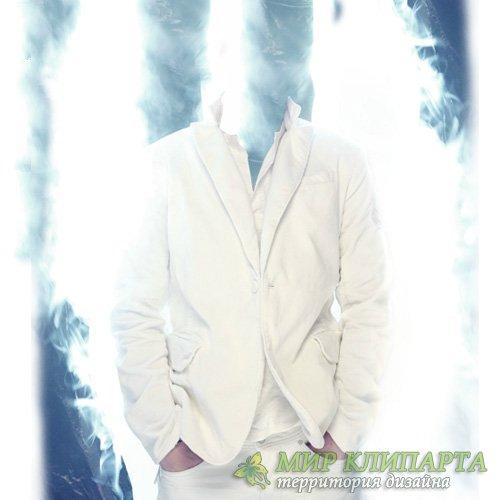Шаблон для фото - В дыму в белом костюме