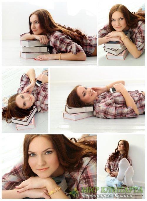 Девушка с книжками / Girl with books - Stock Photo
