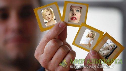 Рамка для фото - Четыре ваших фото в мужских руках