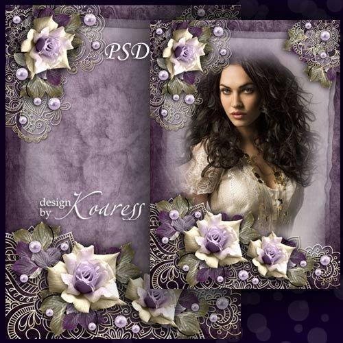Романтическая рамка для фото с цветочным орнаментом и розами - Портрет в ви ...