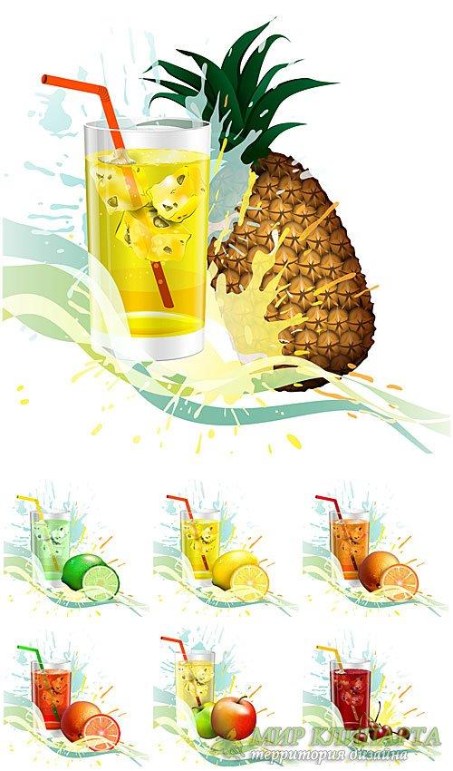 Фруктовые напитки со льдом в векторе / Fruit drinks with ice vector