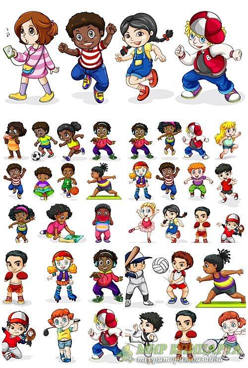 Дети в векторе, мальчики и девочки разных стран мира / Vector children, boy ...