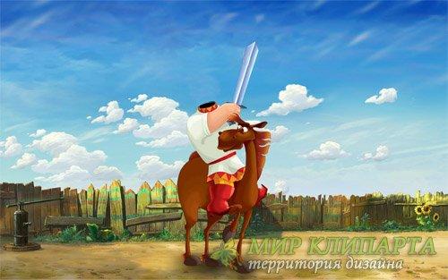 Шаблон для фотошопа - Богатырь с мечом на умном коне