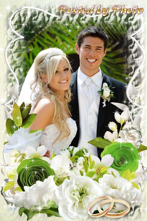 Свадебная рамка для фото - Белые розы