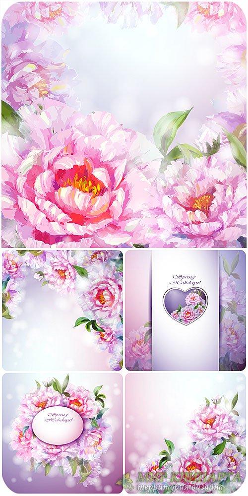 Цветочные фоны в векторе, пионы / Vector floral backgrounds, peonies