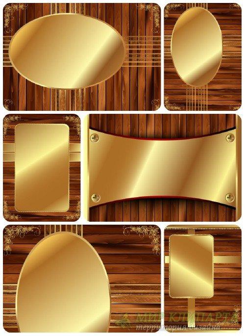 Деревянные фоны с золотыми элементами, вектор  / Wooden background with gol ...