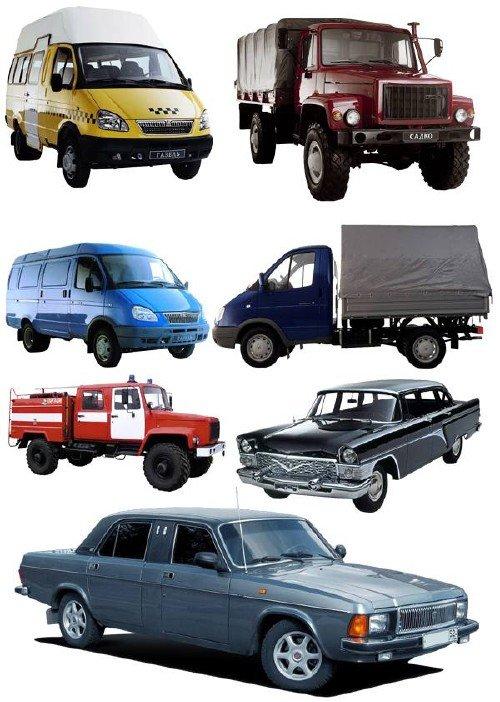 Автомобили марки ГАЗ (прозрачный фон)