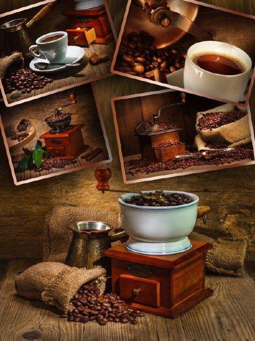 Кофе и кофейные зерна - подборка клипарта (вторая часть)