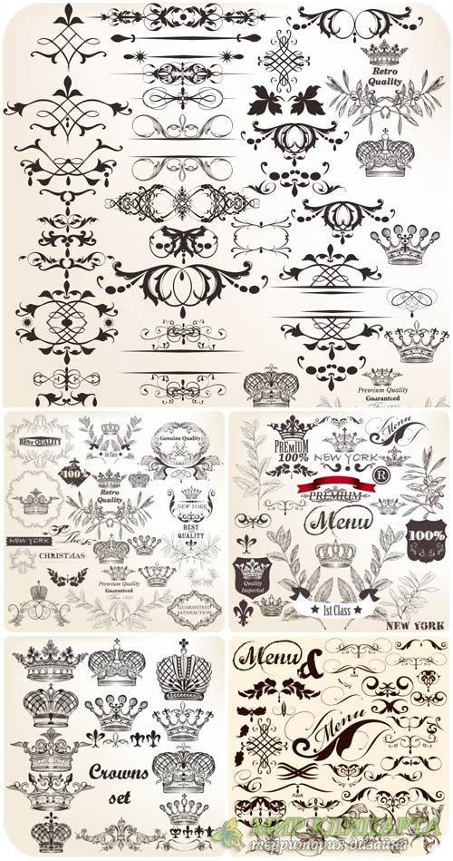 Винтажные декоративные элементы в векторе / Vintage decorative elements vec ...