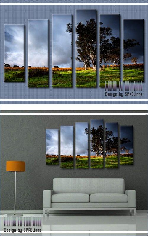 Модульная картина - полиптих с имитацией мазков - Перед бурей