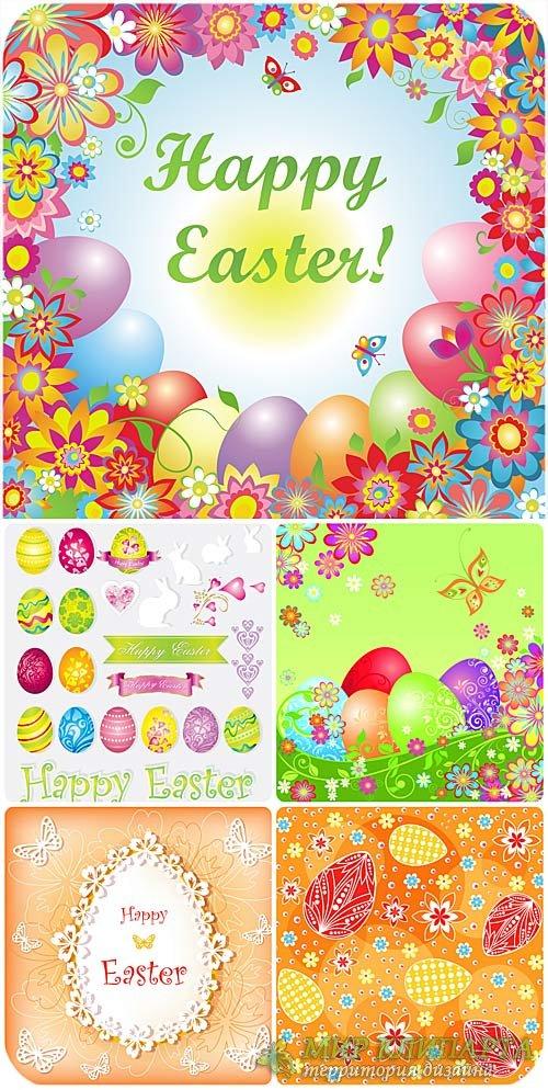 Красивый пасхальный вектор с пасхальными яйцами и цветами / Beautiful vecto ...