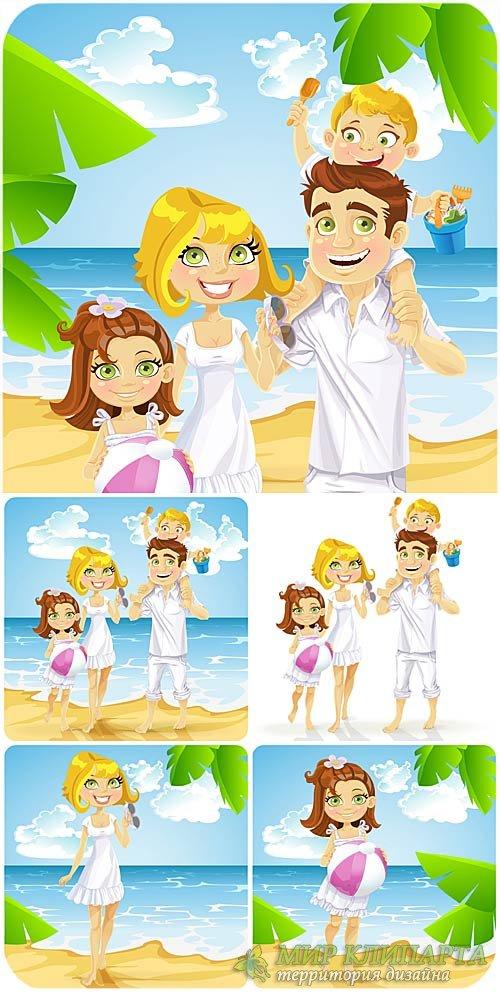 Семейный отдых на море, счастливая семья в векторе / Family holidays by the ...