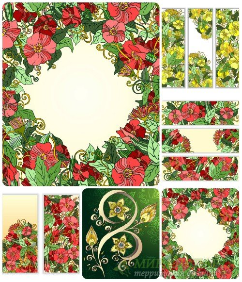 Цветочные фоны и баннеры / Floral backgrounds and banners