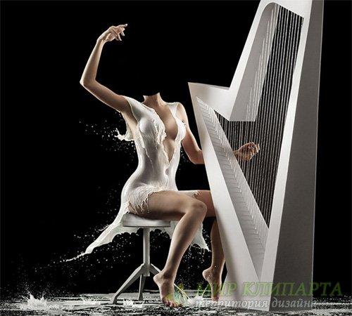 Шаблон женский - Игра на арфе в креативном платье из молока