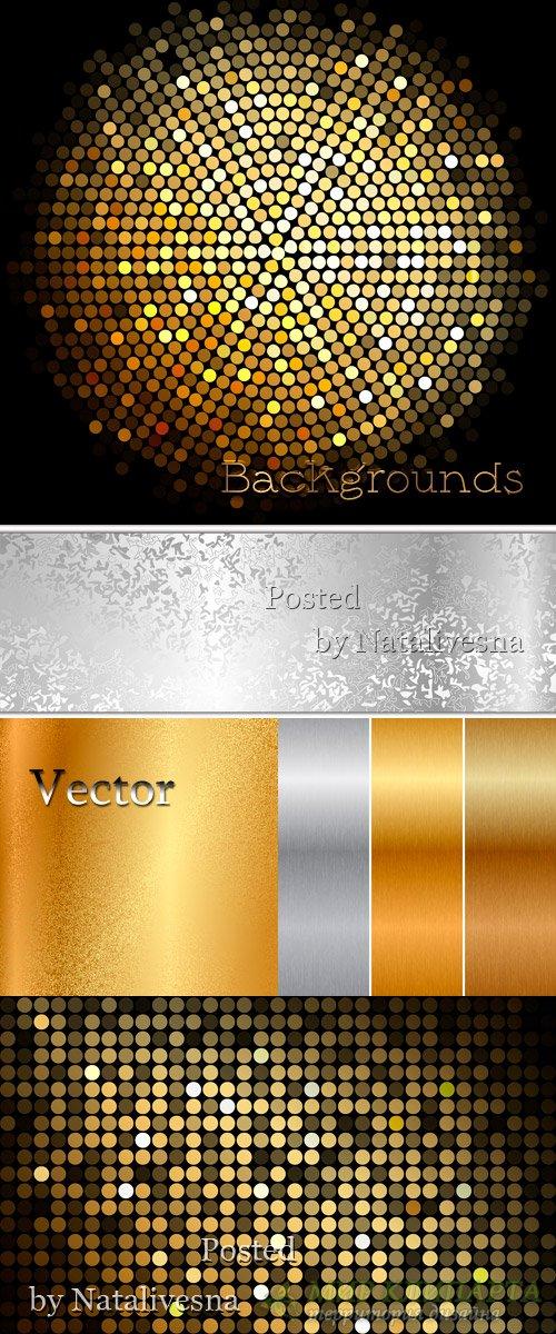 Фоны в Векторе с декоративными элементами в Чёрно – золотом варианте